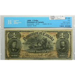 1898 One Dollar, DC-13c, CCCS F-12, Boville, ONE's Inward, Series M, Letter D, serial 794739.