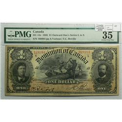 1898 One Dollar, DC-13c, PMG DC-13c, Boville, ONE's Inward, Series S, Letter A, serial 168984.