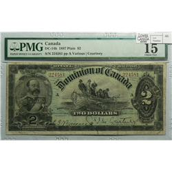 1897 Two Dollars, DC-14b, PMG F-15, Courtney, Series A, Letter A, serial 224581.