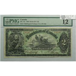 1897 Two Dollars, DC-14c, PMG F-12, Boville, Series G, Letter D, serial 116240.
