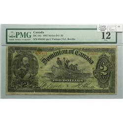 1897 Two Dollars, DC-14c, PMG F-12, Boville, Series H, Letter C, serial 856101.
