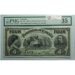 1902  Four Dollars, DC-17b, PMG VF-30, Boville, Series A, Letter D, serial 412635, FOUR on top.