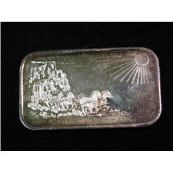 1456. Silver Towne Horse drawn Stagecoach One Ounce .999 fine Silver