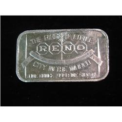 """1457. """"The Biggest Little City in the World Reno"""" One Ounce .999 fine Silver"""