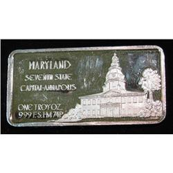 1462. Maryland Seventh State Capital- Annapolis .999 Fine Silver 1