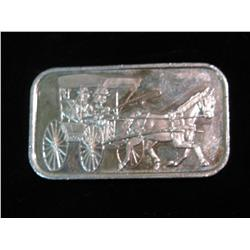 1471. Silver Towne Horse drawn Stagecoach One Ounce .999 fine Silver