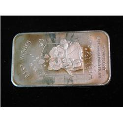 """1485. """"Best Wishes 1993 On Your Wedding Day"""" .999 Fine Silver One Ounce"""