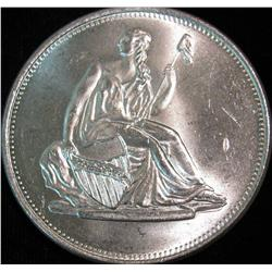 1522. Liberty Seated Dollar Design One Ounce .999 Fine Silver. BU.