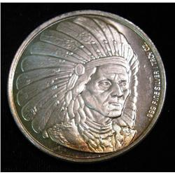 1528. Indian Chief Design One Ounce .999 Fine Silver. BU.