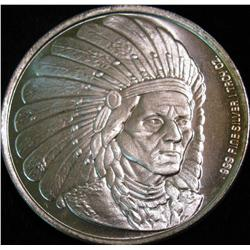 1529. Indian Chief Design One Ounce .999 Fine Silver. BU.