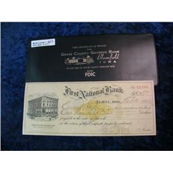 1652. 1901 Check drawn on the First National Bank of Albia, Ia. In a