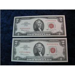"1653. (2) Series 1963 $2 U.S. Notes. AU-Unc. ""Red Seals""."