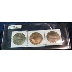 1663. 1980, 82, & 84 Creston, Ia. Rail Road Medals. 39mm. BU.