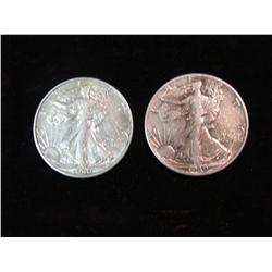 1682. 1939 P & D Walking Liberty Half Dollars. VF-EF.