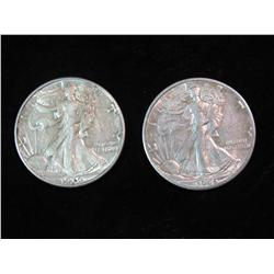 1684. 1939 D & 45 D Walking Liberty Half Dollars. VF-EF.