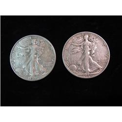 1686. 1936 D & 37 P Walking Liberty Half Dollars. VF-EF.