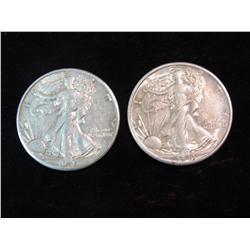 1688. 1943 D & 45 D Walking Liberty Half Dollars. VF-EF.