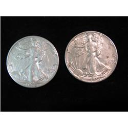 1689. 1944 D & 45 P Walking Liberty Half Dollars. VF-EF.