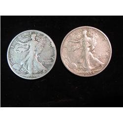 1690. 1934 S & 35 S Walking Liberty Half Dollars. VF & VG