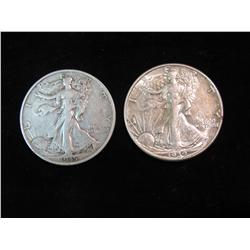 1691. 1935 S VG & 39D EF Walking Liberty Half Dollars.
