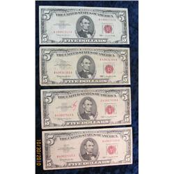 """63. (4) Series 1963 $5 U.S. Notes. VG-VF. """"Red Seals""""."""