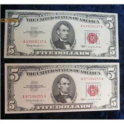 "65. (2) Series 1963 $5 ""Red Seal"" U.S. Notes. Almost Unc."
