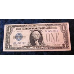 """66. Series 1928A $1 """"Funny Back"""" Silver Certificate. VF."""