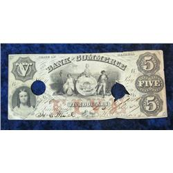"70. $5 ""The Bank of Commerce State of Georgia"" 1857 era Obsolete"