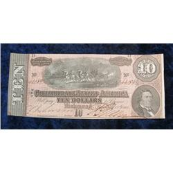 "71. Feb. 17th, 1864 ""The Confederate States of America"" $10 Banknote. CU."