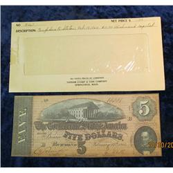 "73. Feb. 17th, 1864 ""The Confederate States of America"" $5 Banknote. CU"