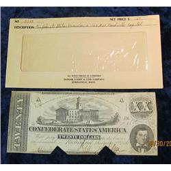 "74. December 2, 1862 $20 ""The Confederate States of America"" Banknote. AU."
