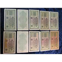 99. Small hoard of (10) 1922 German 1,000 Mark Banknotes.