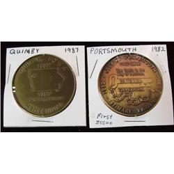 201. 1882-1982 Portsmouth & 1887-1987 Quimby, Iowa Centennial Medals.