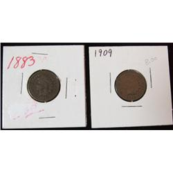 210. 1883 & 1909 Indian Head Cents. G-VG.