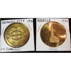 212. 1976 Rockwell City & 1974 Roselle, Iowa Brass 39mm Medals.