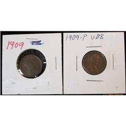 214. 1909P & 09P VDB Lincoln Cents. F-VF.