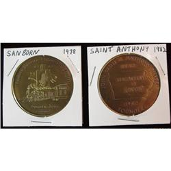 215. 1882-1982 Saint Anthony & 1878-1978 Sanborn, Iowa Centennial Brass BU