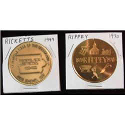 220. 1899-1999 Ricketts & 1870-1970 Rippey, Iowa Centennial Brass BU