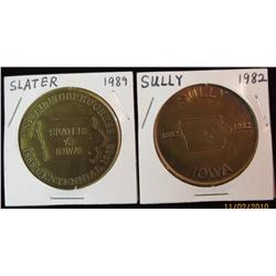 223. 1889-1989 Slater & 1882-1982 Sully, Iowa Brass 39mm BU Medals.