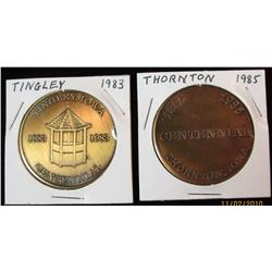 226. 1885-1985 Thornton & 1883-1983 Tingley, Iowa Brass Centennial Medals.