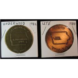 230, 1882-1982 Underwood & 1884-1984 Ute, Iowa Centennial Medals. Brass. BU. 39mm.