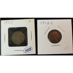 232. 1912 D & 12 S Lincoln Cents. G-VG.