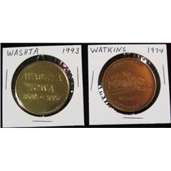 234. 1868-1993 Washta & 1874-1974 Watkins, Iowa medals. Brass. BU.