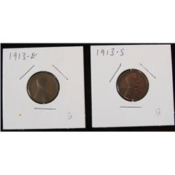 235. 1913 D & 13 S Lincoln Cents. G-4.
