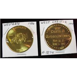 240. 1872-1997 West Chester & 1886-1986 Westgate, Iowa Medals. Brass. BU.