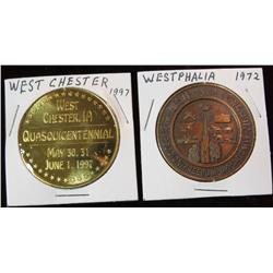 241. 1872-1997 West Chester & 1872-1972 Westphalia, Iowa Medals. Brass.