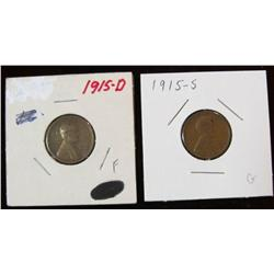 242. 1915 D & 15 S Lincoln Cents. Fine and Good.