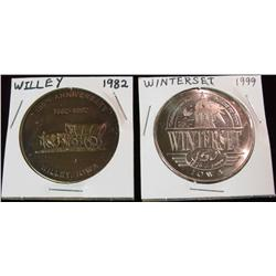 246. 1882-1982 Willey & 1849-1999 Winterset, Iowa Medals. BU. 39mm.