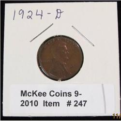 247. 1924 D Lincoln Cent. VG-8.