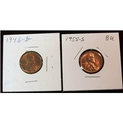 257. 1946 D & 55 S Lincoln Cents. Brilliant MS 63-64 Red.